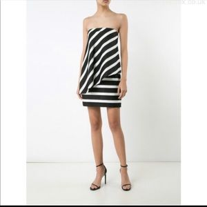 Halston Heritage Striped Cocktail Dress